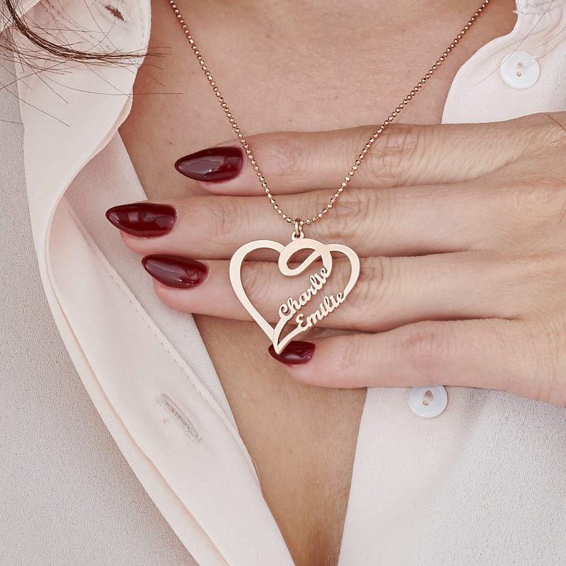 Couple Heart Necklace in Rose Gold Plated - 3