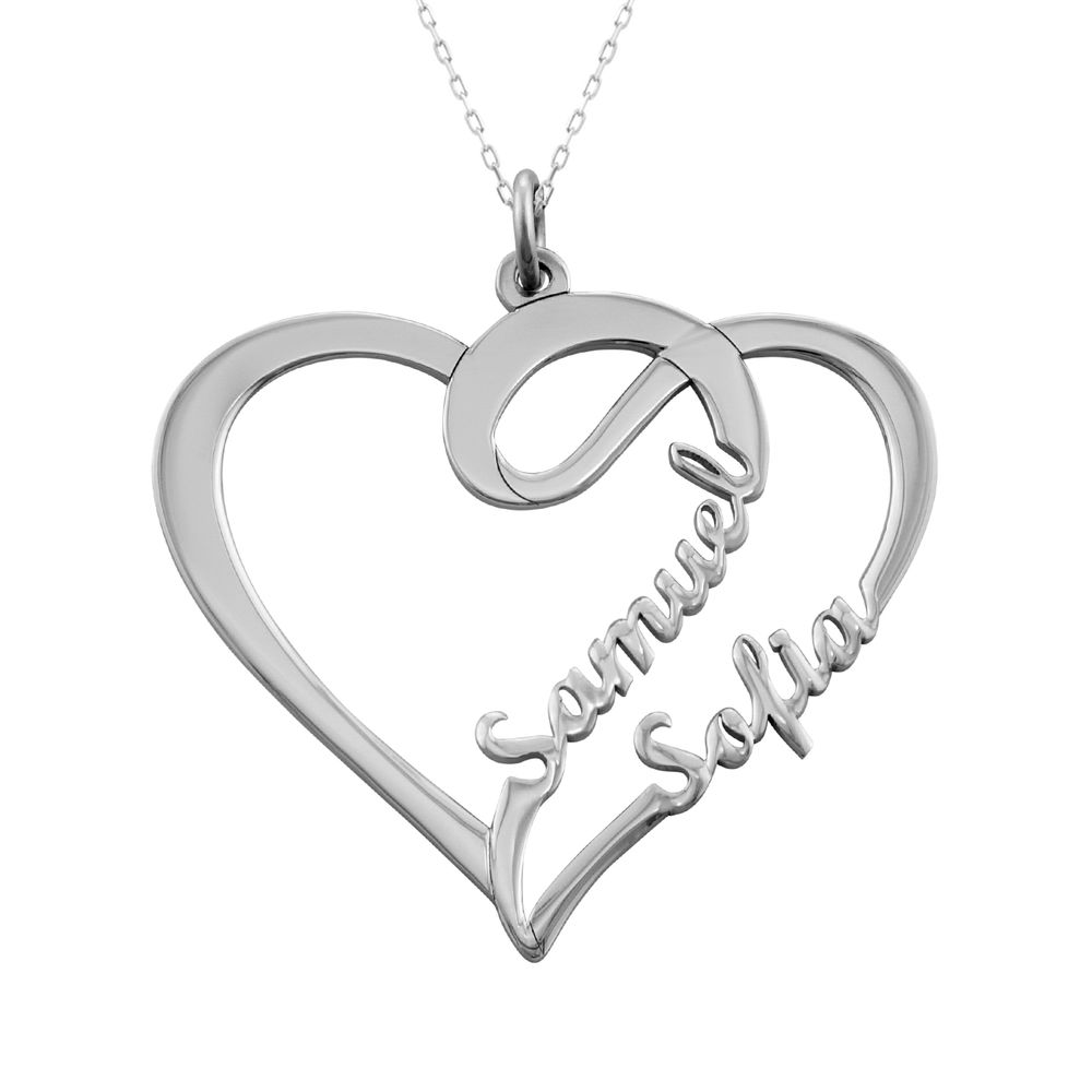 Couple Heart Necklace in 10k White Gold