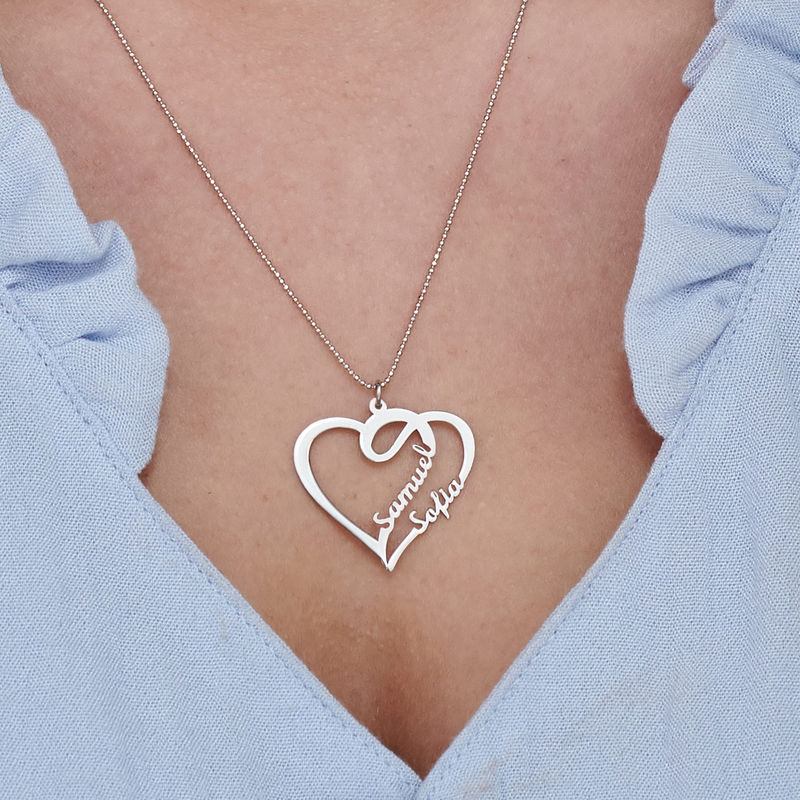 Couple Heart Necklace in 10k White Gold - 3