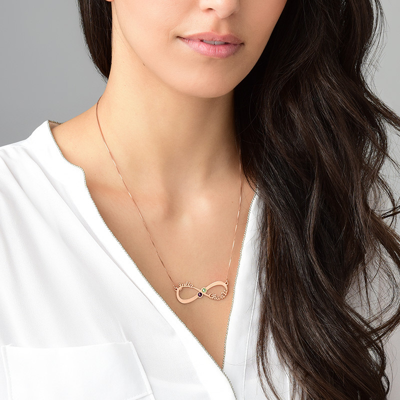 Infinity Name Necklace with Birthstones - Rose Gold Plating - 2