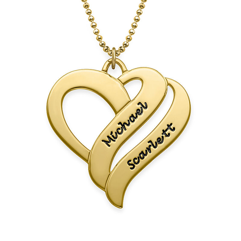 Two Hearts Forever One Necklace in 18k Gold Vermeil