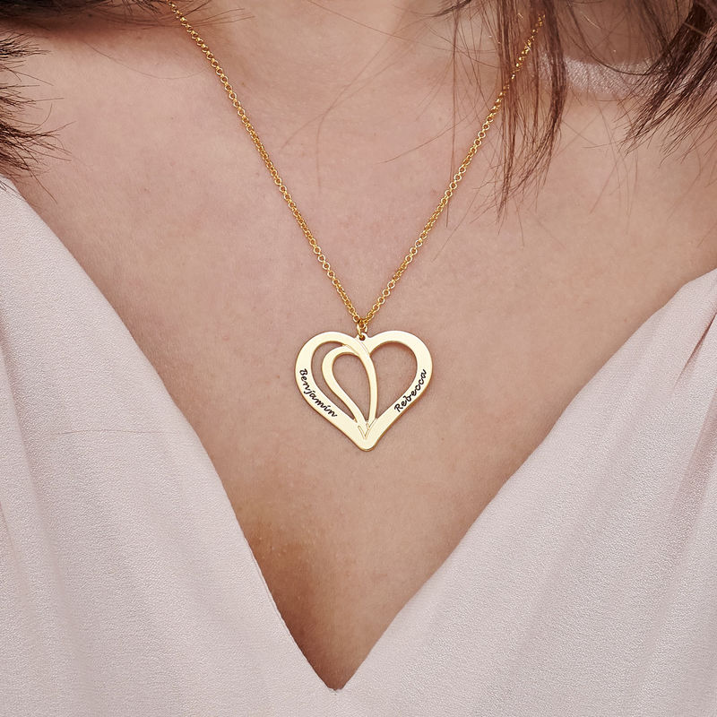 Engraved Couples Necklace in Gold Plated Sterling Silver - 3
