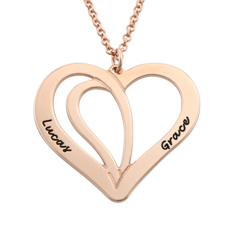 Engraved Couple Necklace in Rose Gold Plating