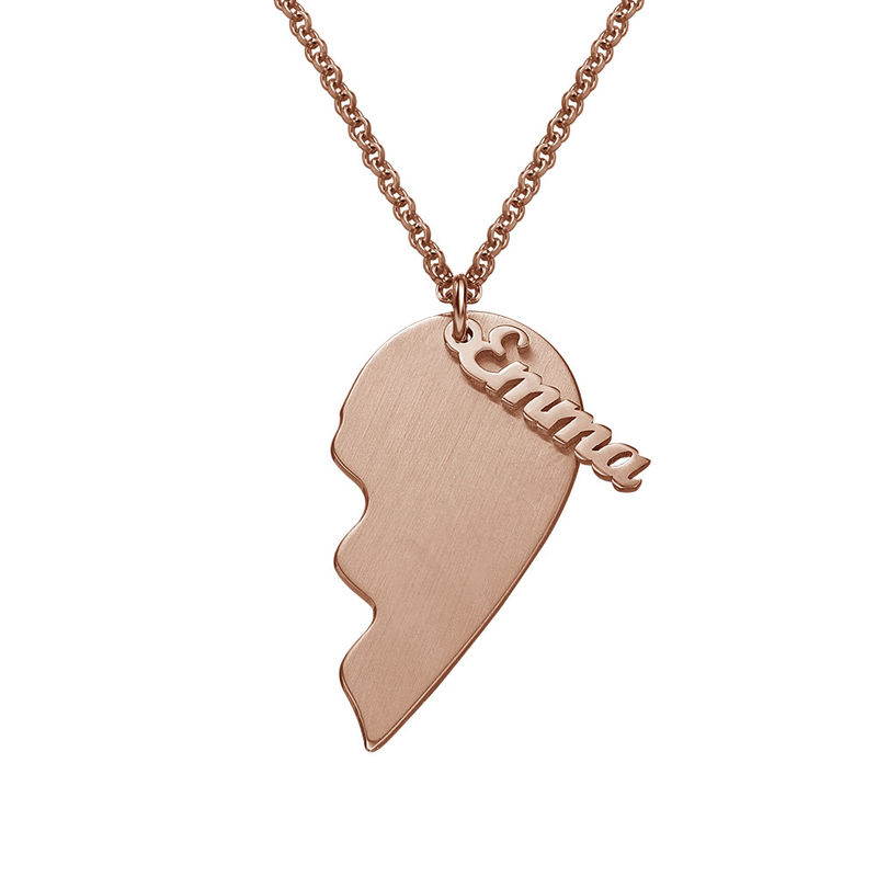 Personalized Couple Heart Necklace in Matte Rose Gold Plating - 1