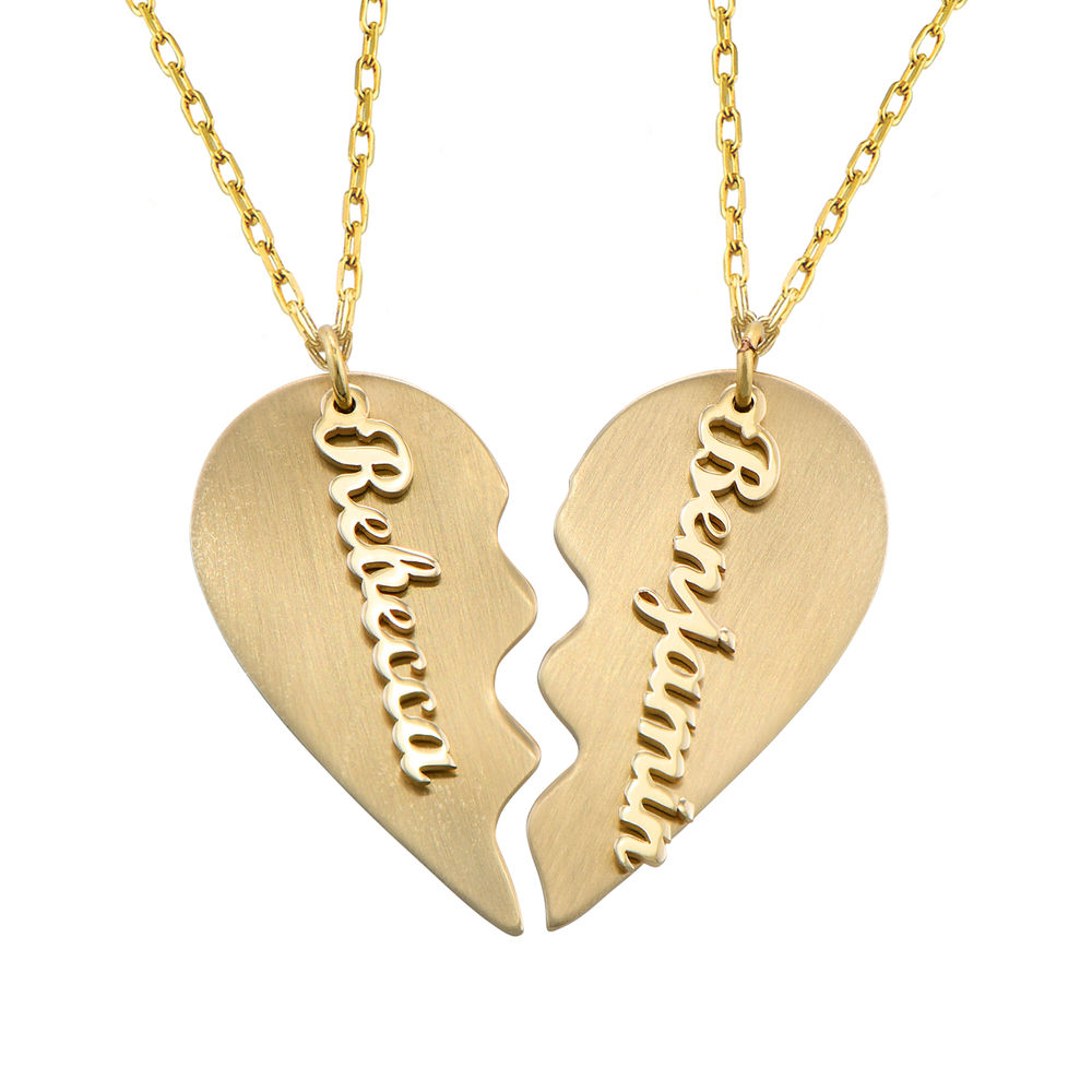 Personalized Couple Broken Heart Necklace in 10k Yellow Gold