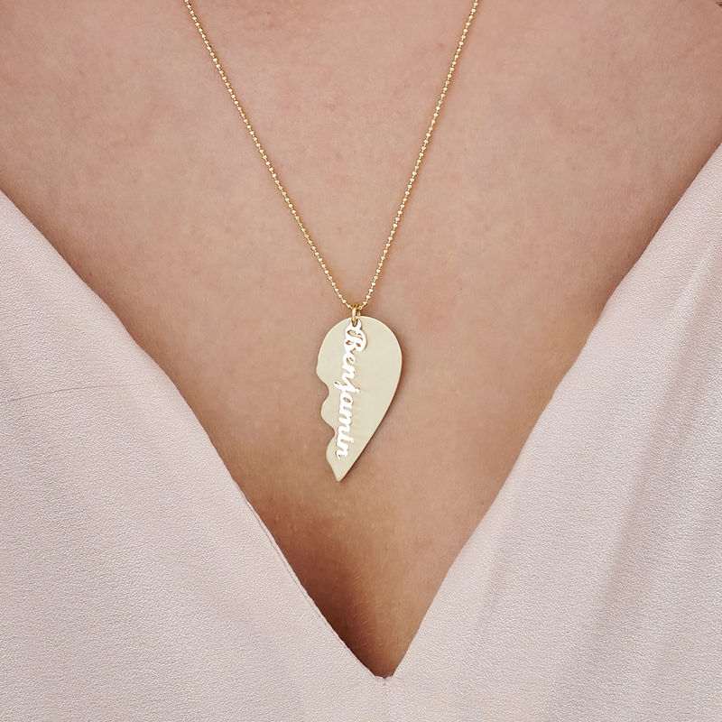 Personalized Couple Broken Heart Necklace in 10k Yellow Gold - 3