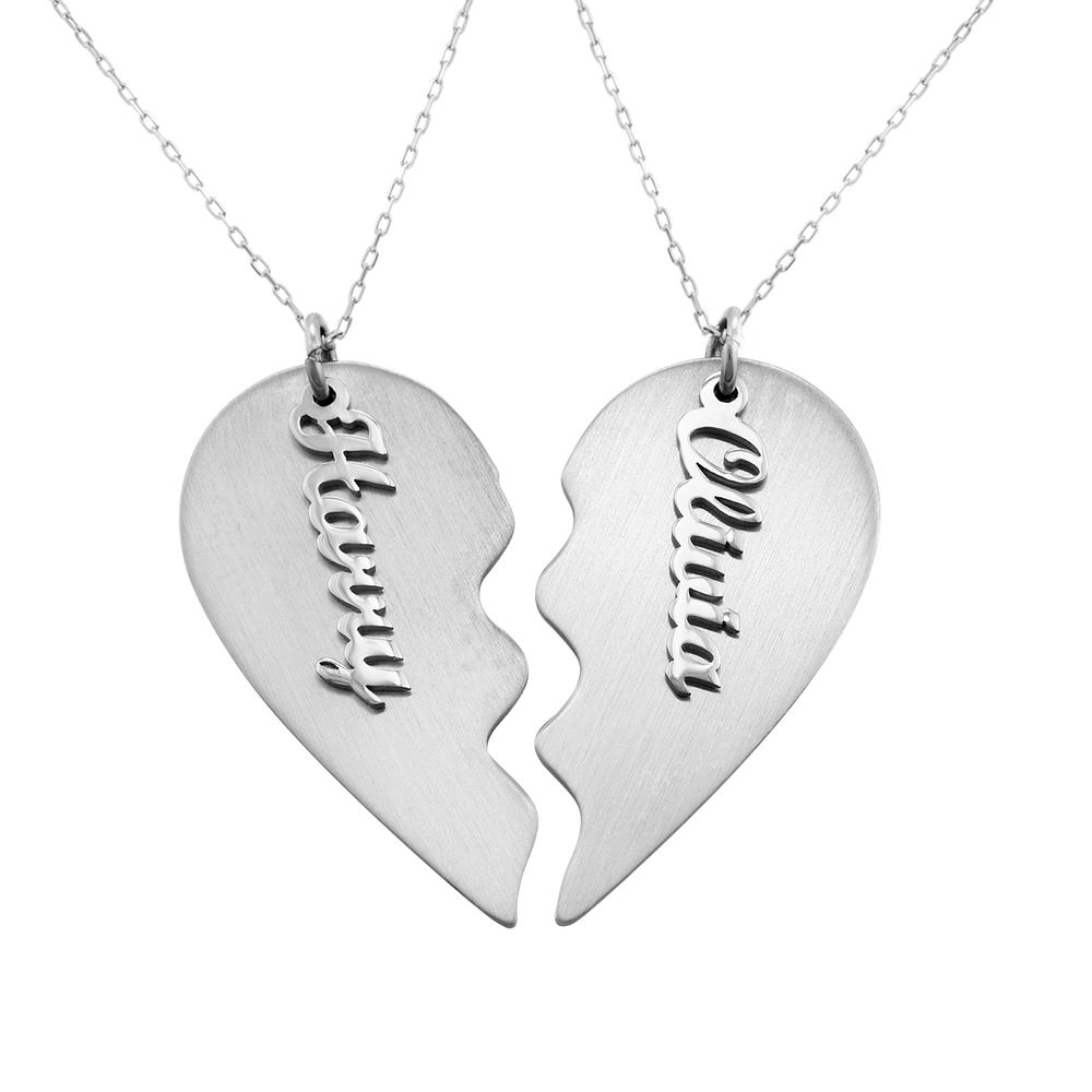 Personalized Couple Broken Heart Necklace in 10k White Gold