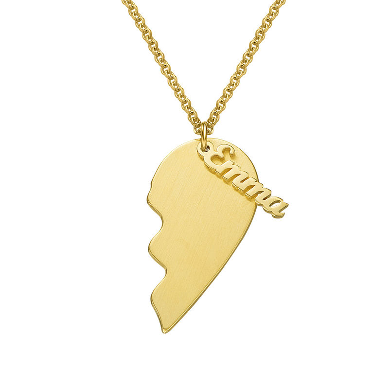 Personalized Couple Heart Necklace in 18k Matte Gold Vermeil - 1