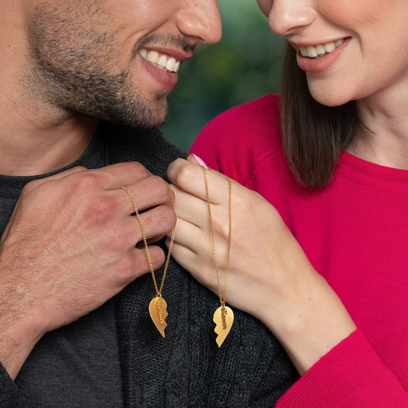 Personalized Couple Heart Necklace in 18k Matte Gold Vermeil - 2