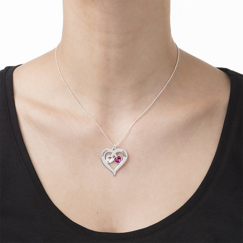 Personalized Heart Necklace with Birthstones - 2
