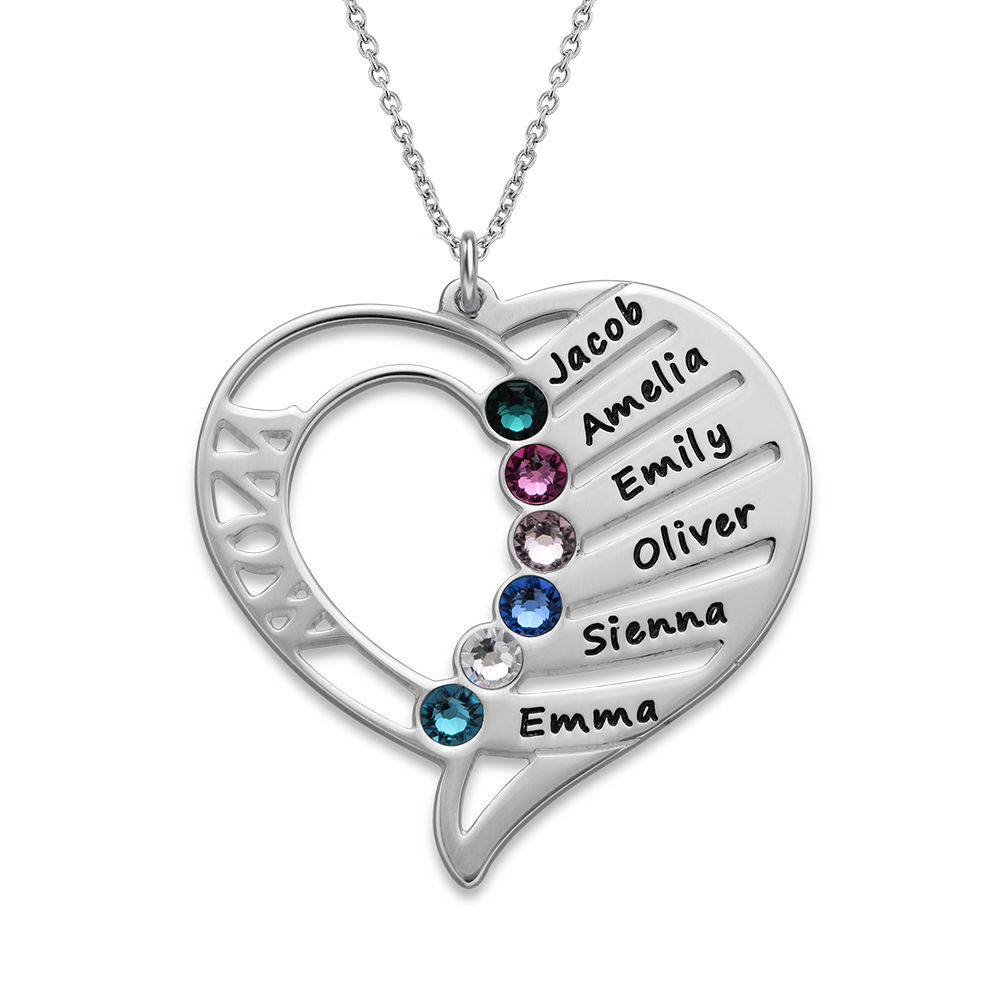 Engraved Mom Birthstone Necklace in Sterling Silver