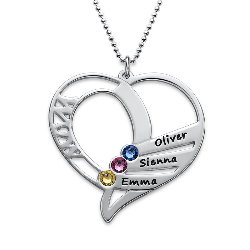 Engraved Mom Birthstone Necklace in Sterling Silver - 1
