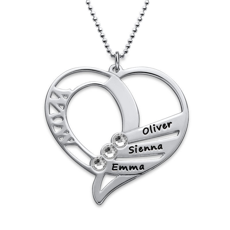 Engraved Mom Birthstone Necklace in Sterling Silver - 2