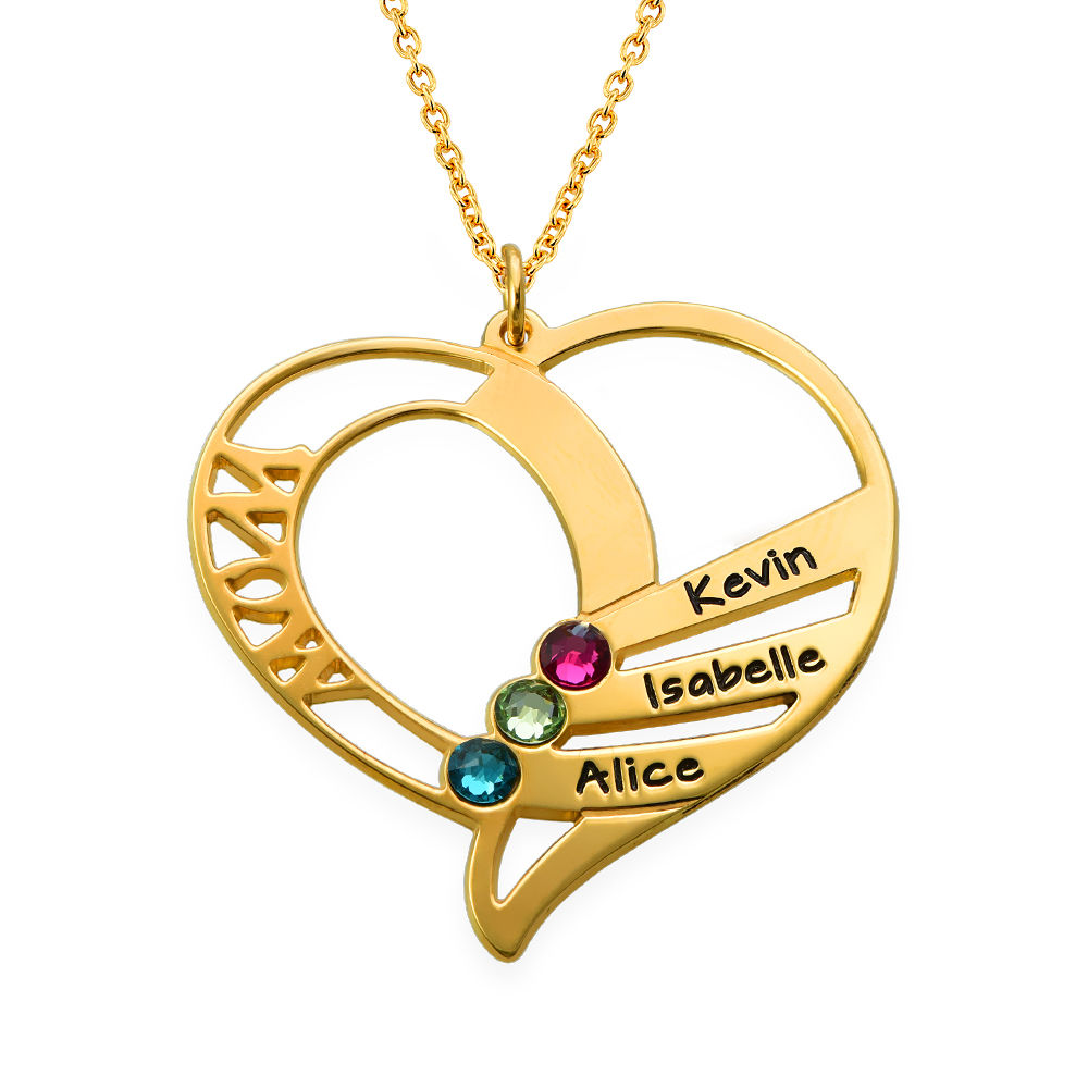 Engraved Mom Birthstone Necklace  - Gold Plated
