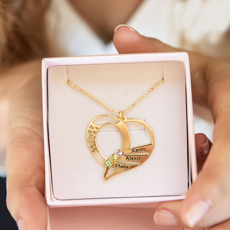 Engraved Mom Birthstone Necklace  - Gold Plated - 7