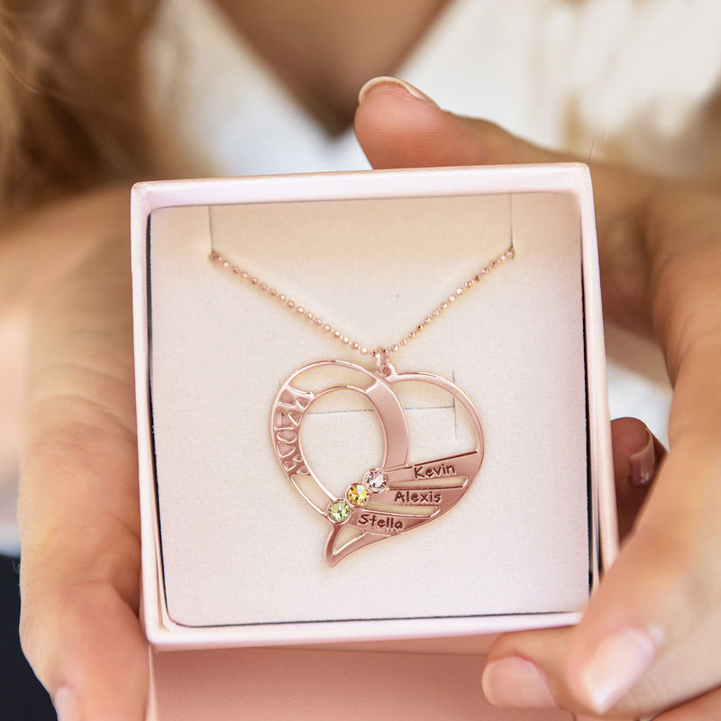 Engraved Mom Birthstone Necklace - Rose Gold Plated - 7