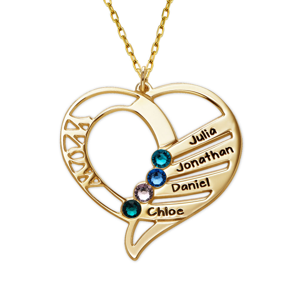 Engraved Mom Birthstone Necklace in 10K Yellow Gold - 1