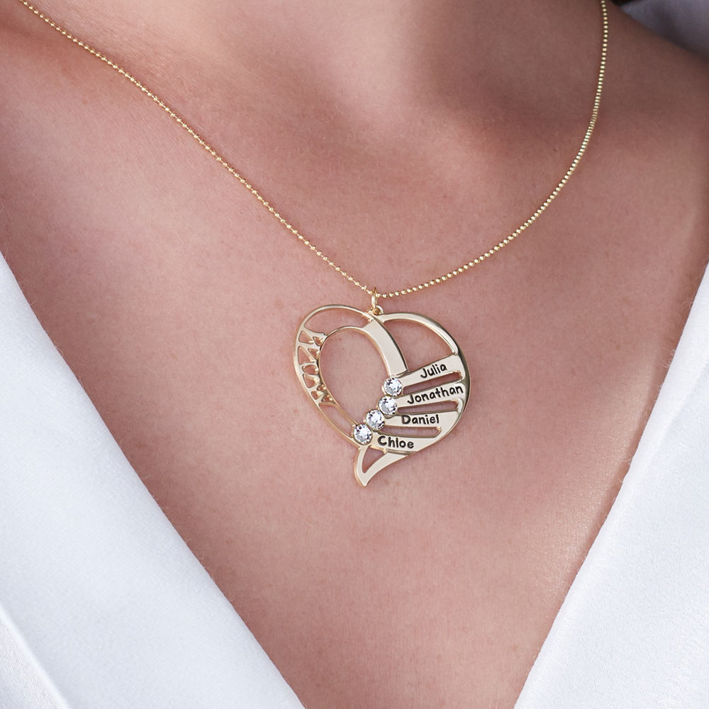 Engraved Mom Birthstone Necklace in 10K Yellow Gold - 4