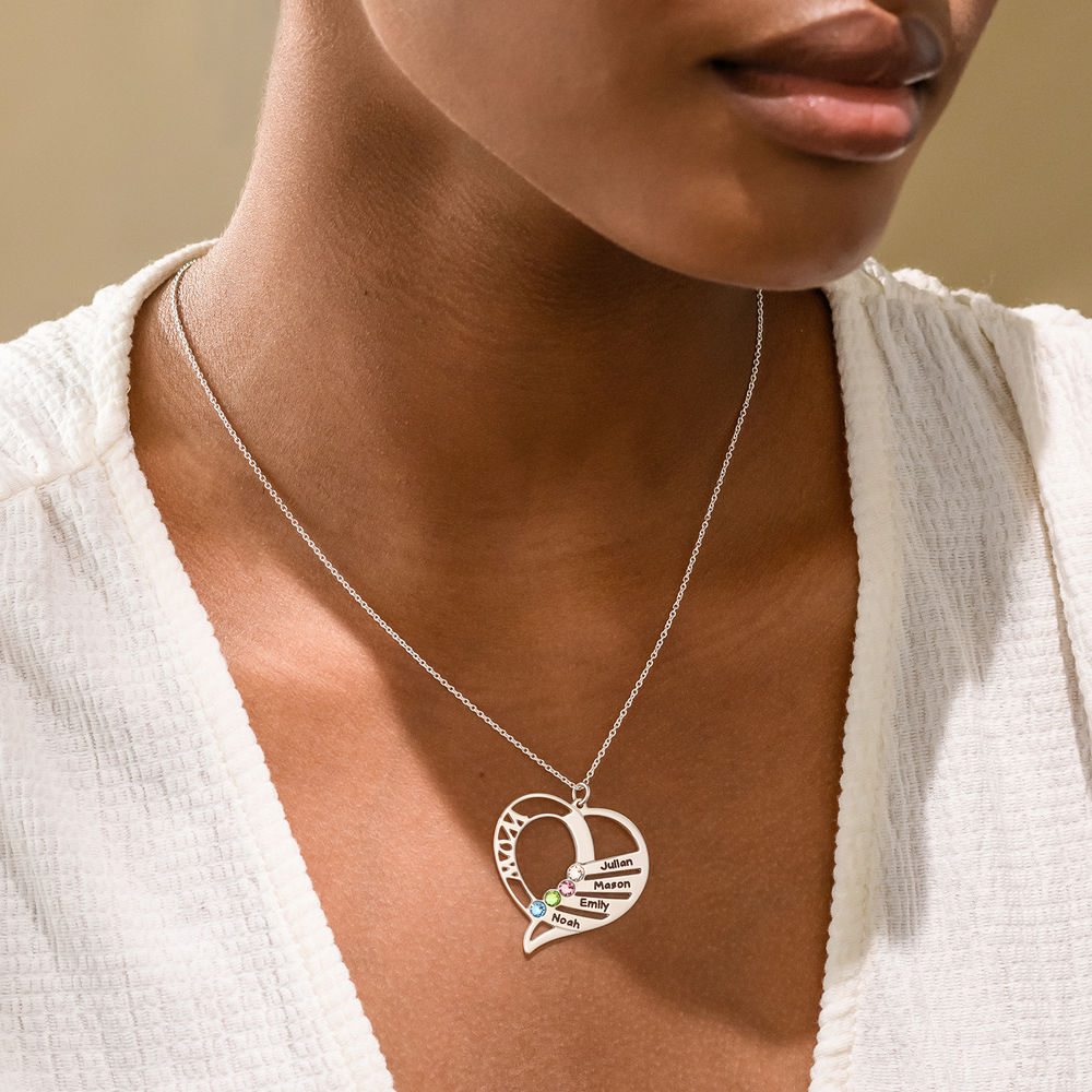 Engraved Mom Birthstone Necklace in 10K White Gold - 2
