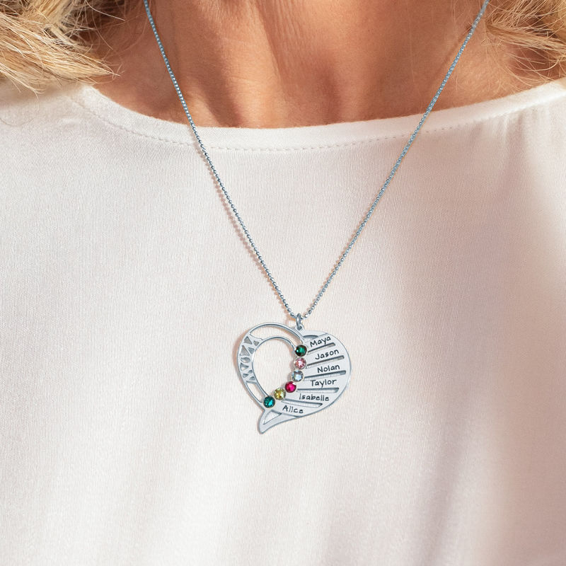 Engraved Mom Birthstone Necklace in 10K White Gold - 4