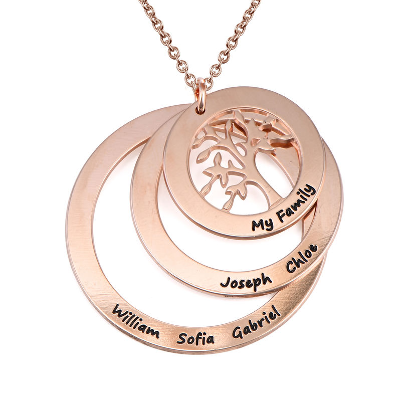 Family Circle Necklace with Hanging Family Tree in Rose Gold Plated - 1