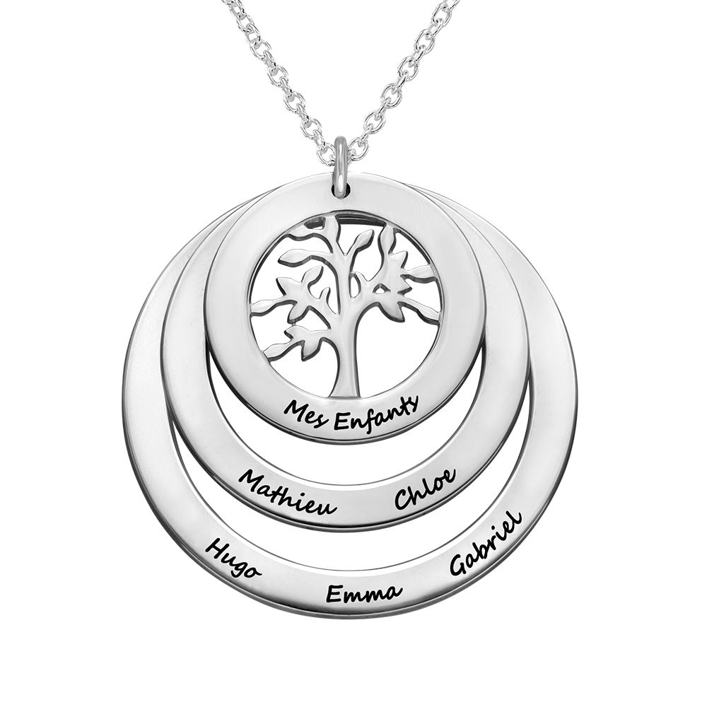 Family Circle Necklace with Hanging Family Tree in 940 Premium Silver