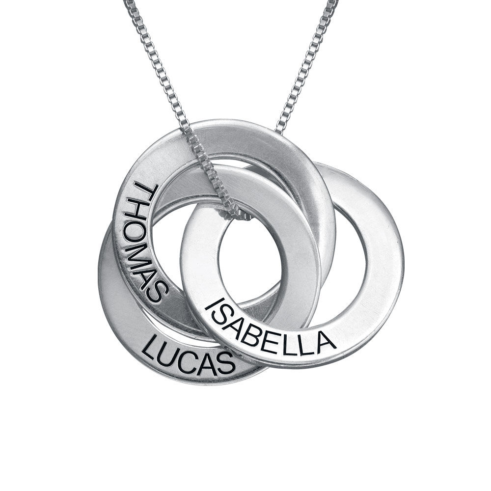 940 Premium Silver Russian Ring Necklace with Engraving
