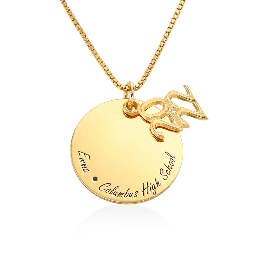 Engraved Graduation Necklace in Gold Plating - 1