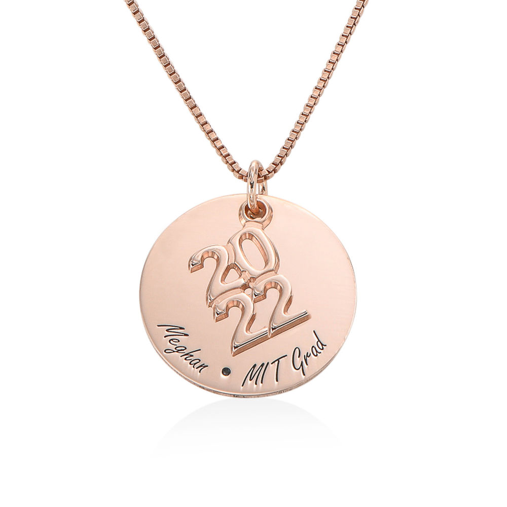 Engraved Graduation Necklace in Rose Gold Plating