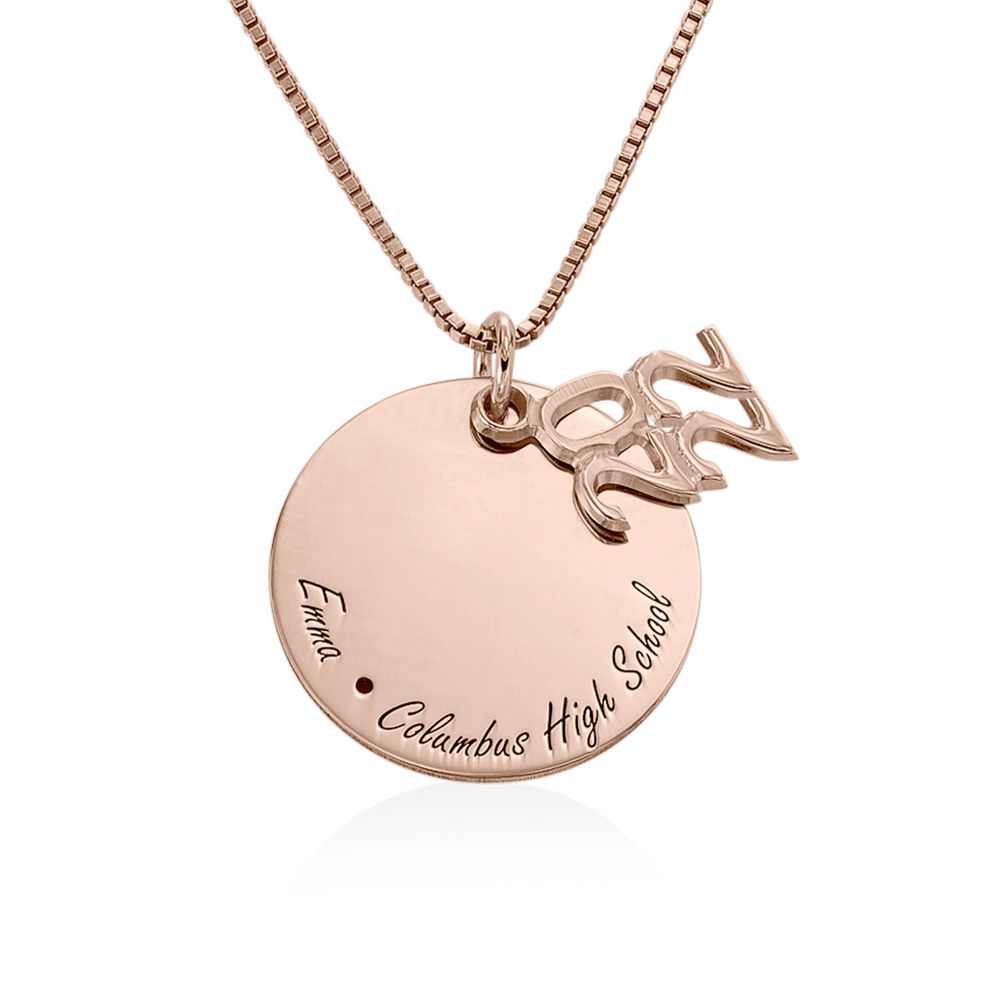 Engraved Graduation Necklace in Rose Gold Plating - 1