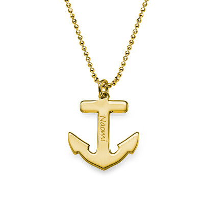 Personalized Anchor Necklace in 18K Gold Plating