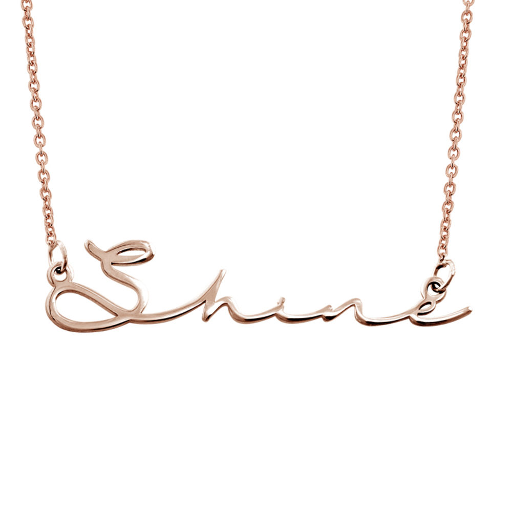 Signature Style Name Necklace in Rose Gold Plating - 1