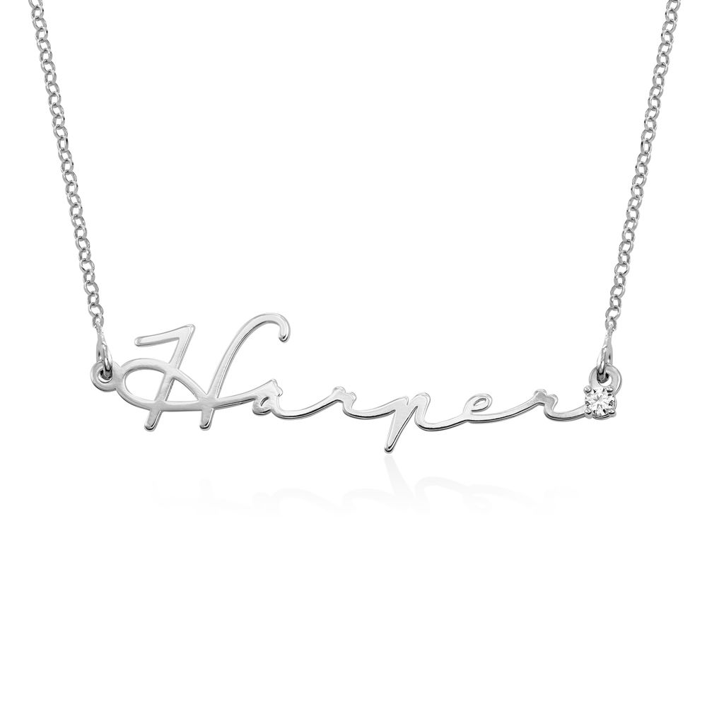 Signature Style Name Necklace in Sterling Silver with Diamond