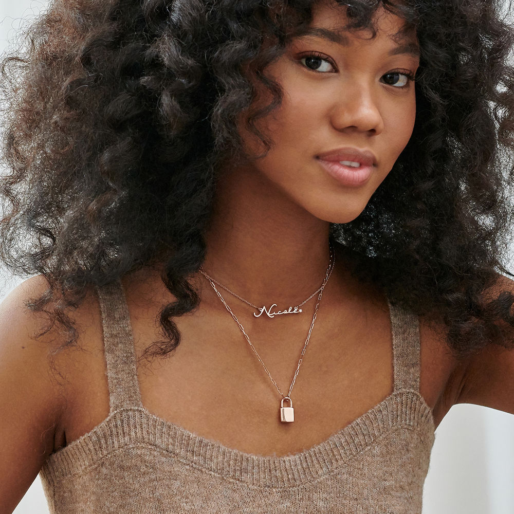 Signature Style Name Necklace in Rose Gold Plating with Diamond - 3