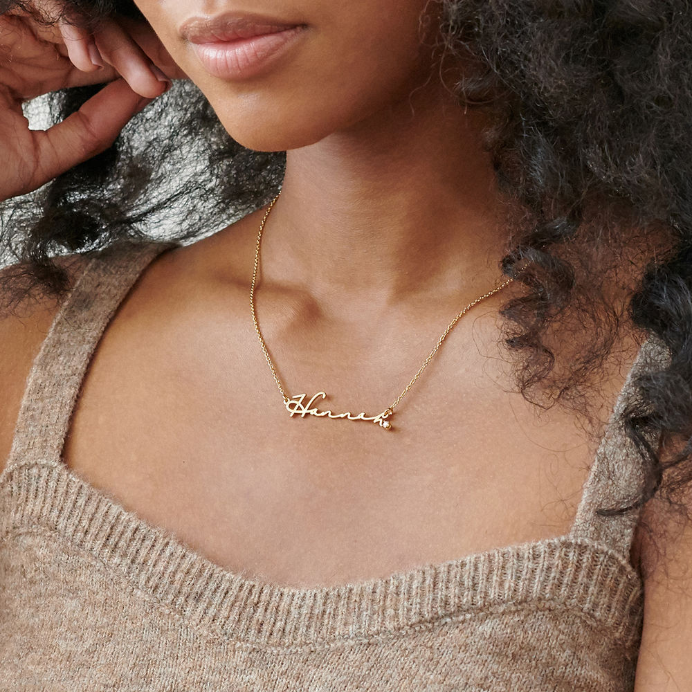 Signature Style Name Necklace in Gold Vermeil with Diamond - 2