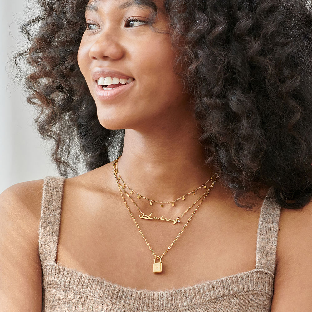 Signature Style Name Necklace in Gold Vermeil with Diamond - 3