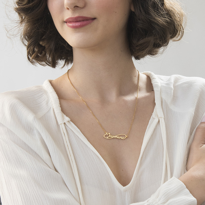 Infinity Style Name Necklace with Gold Plating - 2