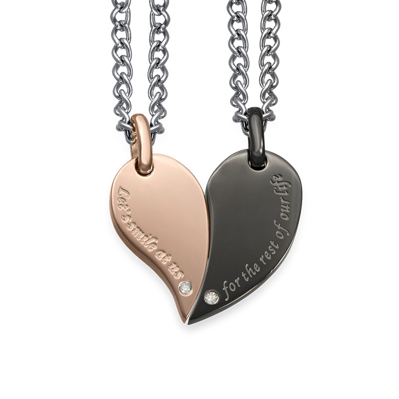 2 Piece Heart Necklace Set for Couples - 1
