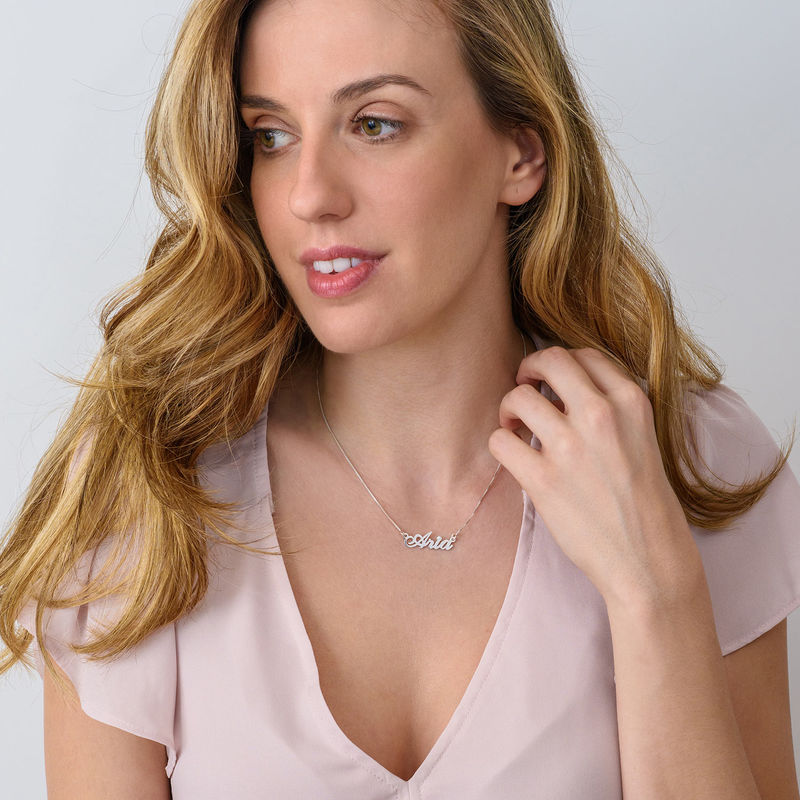 Small Classic Name Necklace with 2 Points Carats Diamond in Sterling Silver - 1