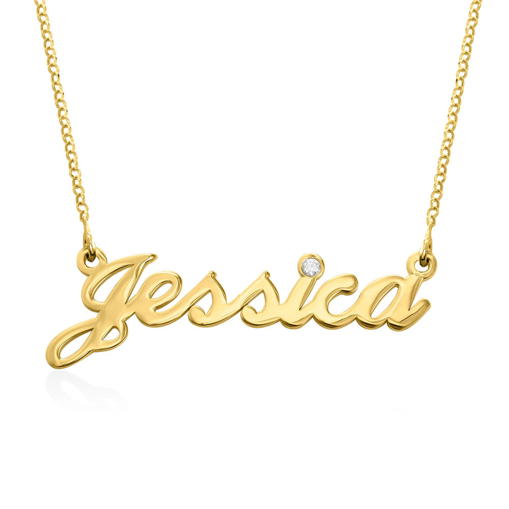 Small Classic Name Necklace in Gold Plated with Diamond