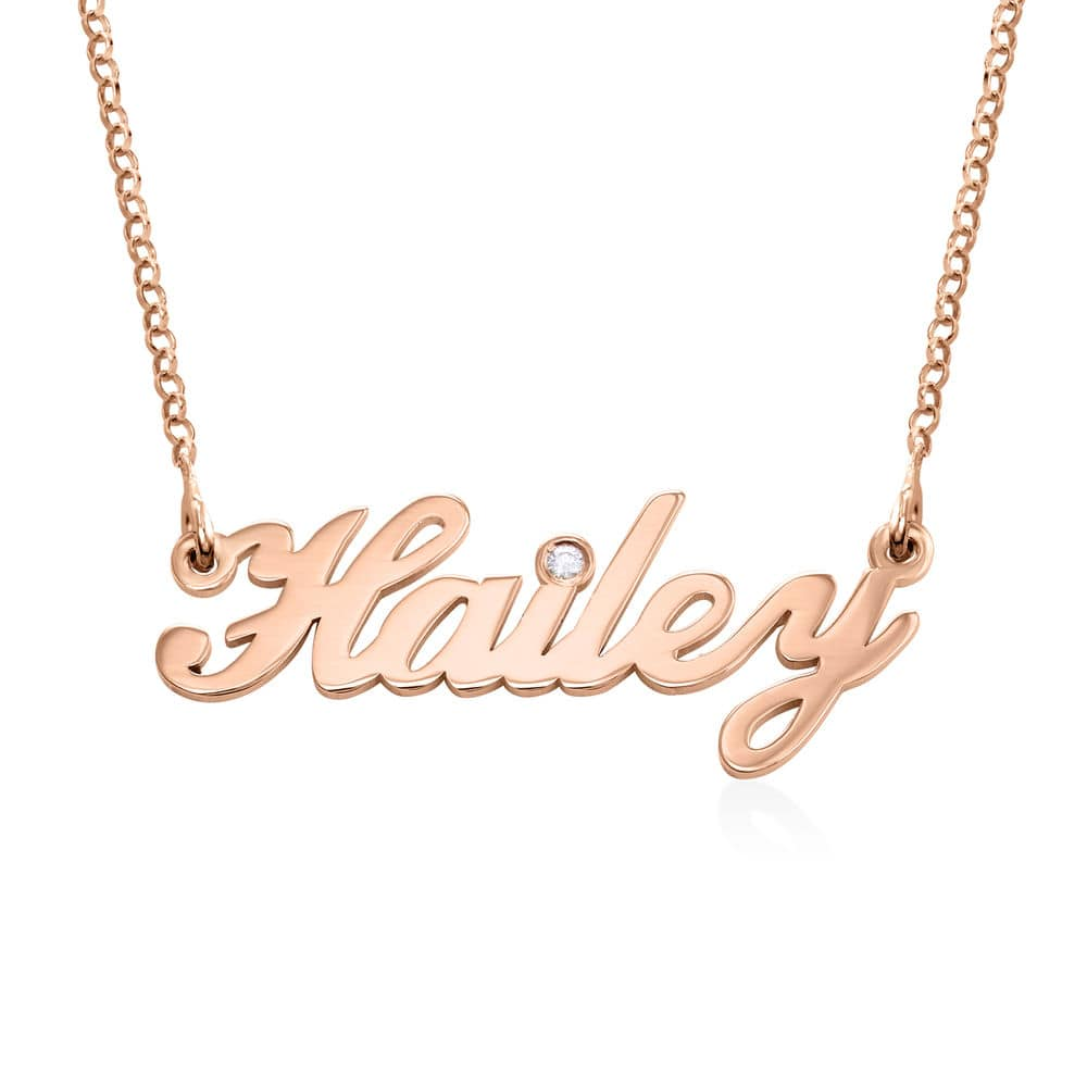 Small Classic Name Necklace with 2 Points Carats Diamond in Rose Gold
