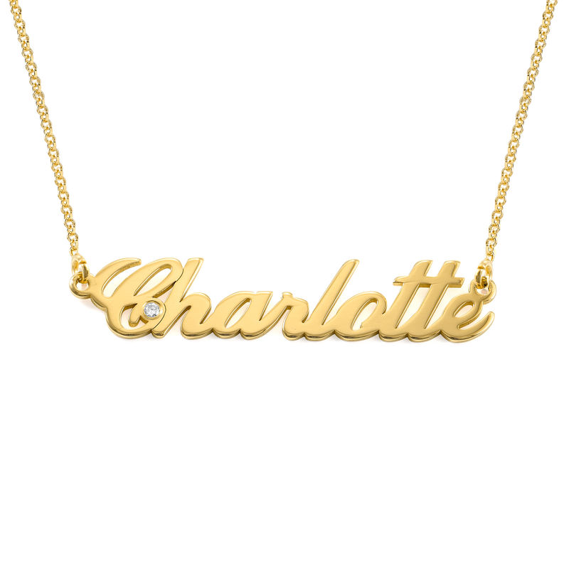 Small 18k Gold Vermeil Classic Name Necklace with Diamond - 1