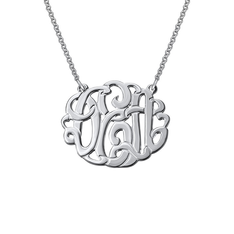 Large Silver Monogram Necklace - Round Design