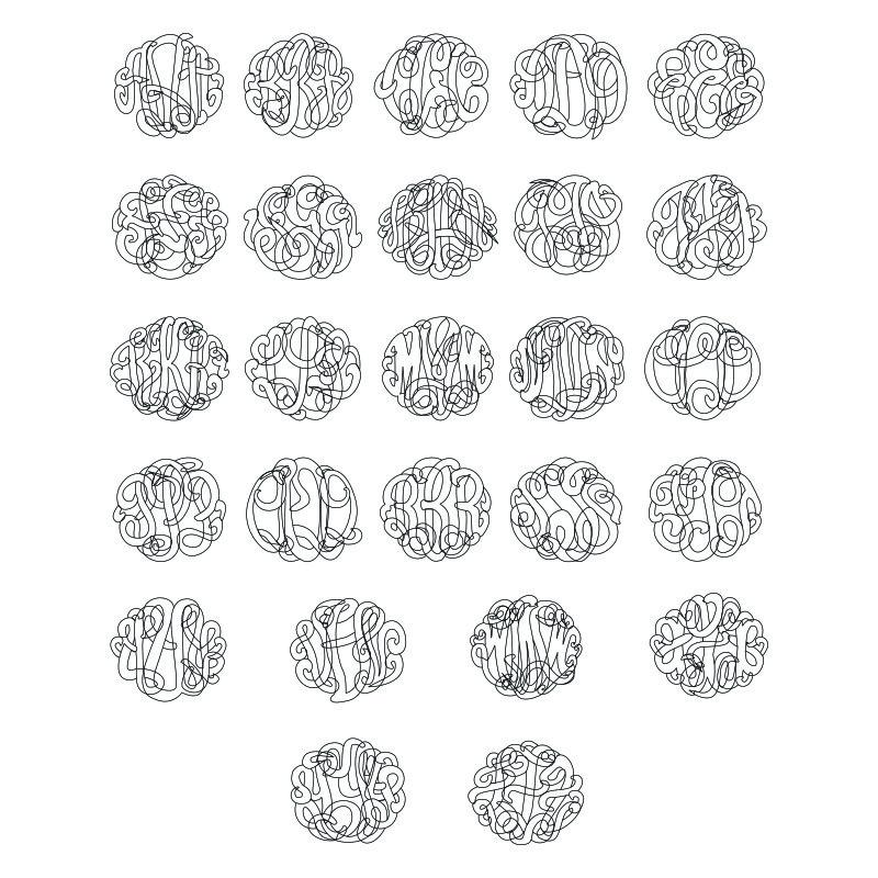 Large Silver Monogram Necklace - Round Design - 1