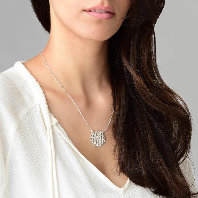 Large Silver Monogram Necklace - Round Design - 2