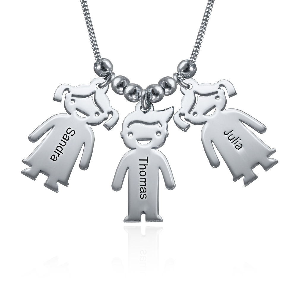 Sterling Silver Mother's Necklace with Children Charms - 1