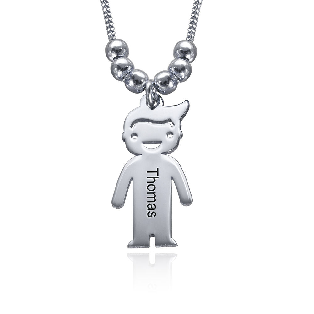 Sterling Silver Mother's Necklace with Children Charms - 2
