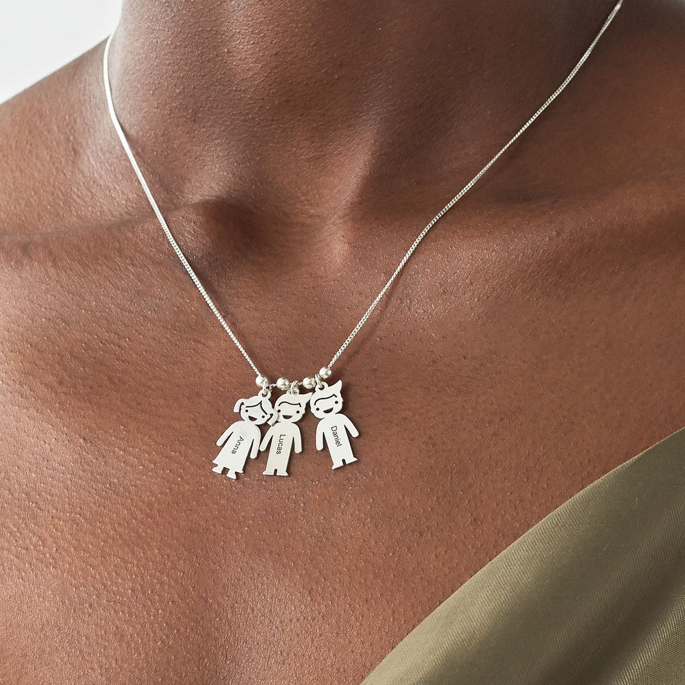 Sterling Silver Mother's Necklace with Children Charms - 4