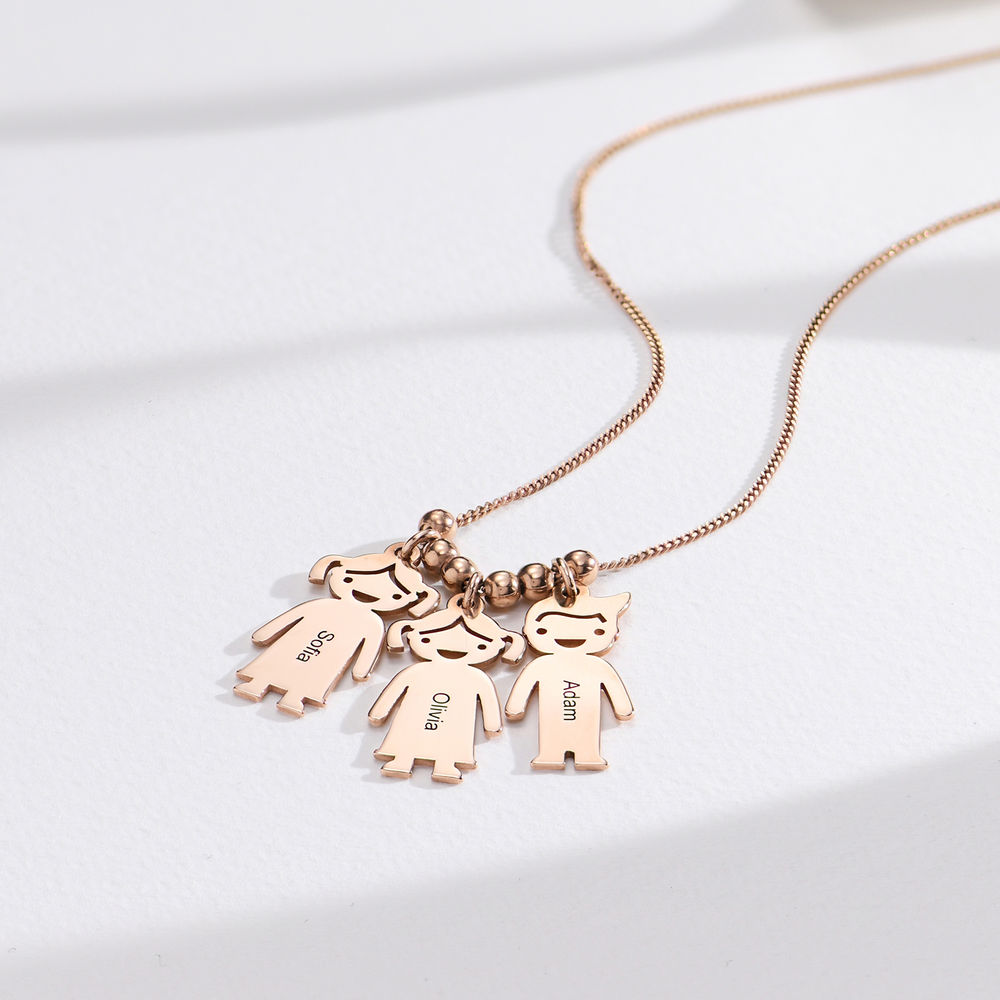 Mother's Necklace with Engraved Children Charms - Rose Gold Plated - 1