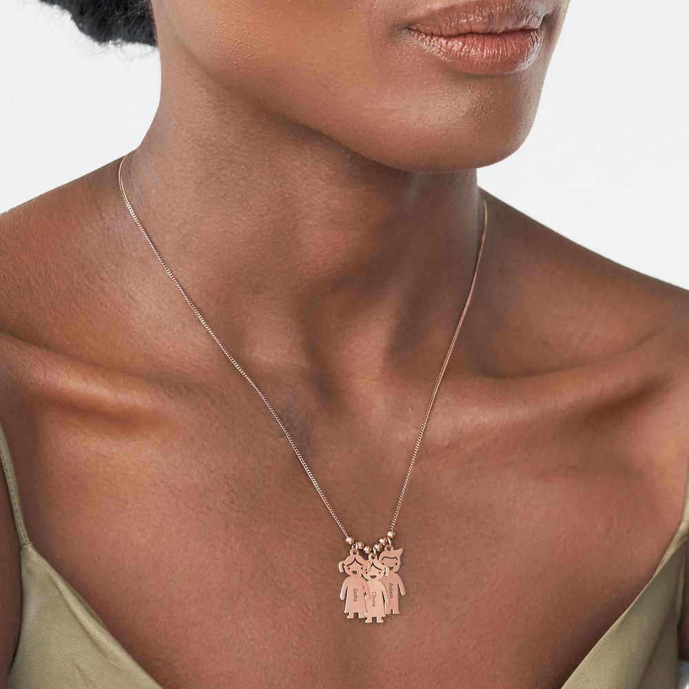 Mother's Necklace with Engraved Children Charms - Rose Gold Plated - 2